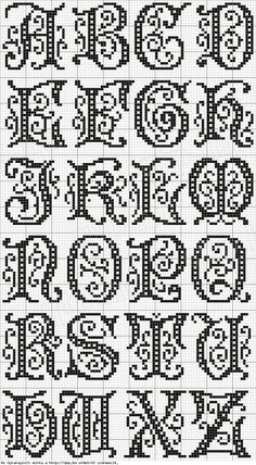 Cross stitch, or filet crochet - alphabet Cross Stitch Alphabet Patterns, Embroidery Alphabet, Cross Stitch Letters, Cross Stitch Charts, Cross Stitch Designs, Stitch Patterns, Cross Stitch Font, Cross Stitch Borders, Loom Patterns