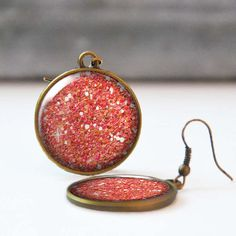 Glitter Earrings Red Picture Earrings 25 mm 1 Inch Round Dangle Statement Earrings Bohemian Resin Jewelry Bridesmaid gift 5016-07 by StudioDbronze