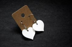 White Heart Shrink Plastic Earrings by Cyclop on Etsy, $14.00
