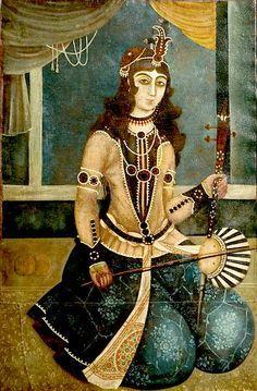 Woman plays, Iranain Art, Qajar Painting.