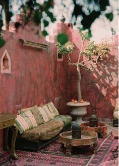 Morrocan inspired outdoor space in pink