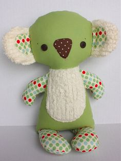 Koby Koala pattern of all pattern proceeds go to the Australian Red Cross c… - Stofftiere Fabric Toys, Fabric Crafts, Sewing Crafts, Sewing Projects, Paper Toys, Sock Toys, Fabric Animals, Sewing Dolls, Animal Crafts