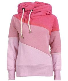 »Sweet Style Hooded Long Sleeve Color Block Hoodie For Women«