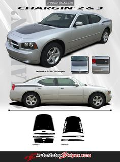 2006-2010 Dodge Charger Chargin 2 Hood Rear Quarter Trunk Blackout Vinyl Stripes 3M Decals Kit