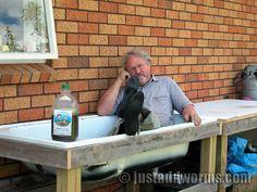 Me Sitting In Bath Tub Worm Farm