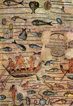 dettaglio mosaico -scena di pesca-pavimento basilica Aquileia Friuli Venezia Giulia-Italia