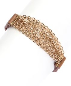 PANNEE JEWELRY Brown & Gold Chain Leather Bracelet