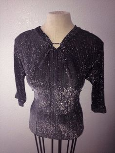 Vintage 1950s black and silver lurex threaded by hipsmcgee on Etsy, $95.00