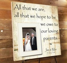Personalized Picture Frame, Parents Thank You Gift, Parents of the Groom Gift, Wedding, Mother of the Groom, Father of the Groom, 16 x 16