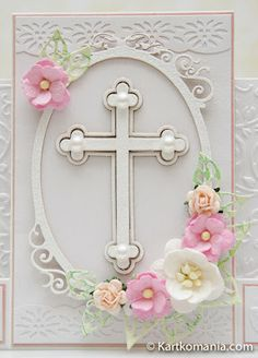 Baptism, Confirmation, or Wedding Card With Cross & Flowers