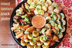 Mixed Savoury Snack Platter - delicious and easy snacks to entertain your guests this weekend!
