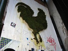 Moss graffiti chicken
