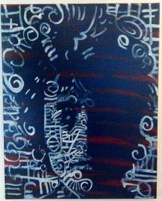 Résumé de Pop Art peinture Bob Dylan 16 x 20 mur Tribal Art musique Art Urbain Art Rock Art Boho Chic décor rouge blanc et bleu de toile d'Art Art