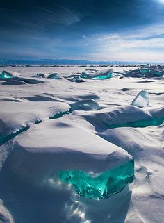 Turquoise Ice in Lake Baikal, Siberia Russia