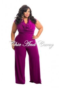 New Plus Size Jumpsuit In Draping Neckline in Magenta 1x 2x 3x