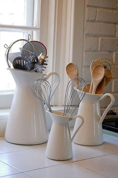 Kitchen Tool Storage - Ikea Pitchers Scandinavian Modern farmhouse design. ❤️❤️