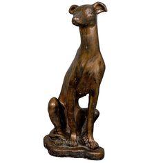 Statue du chien Whippet dans un fini en bronze 1