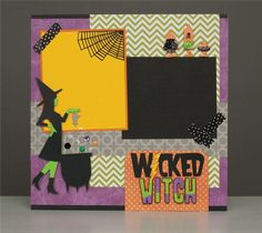 #Cricut - Wicked Witch Scrapbook Layout - I think I need to be a witch for Halloween now, just so I can make this page! I love it!
