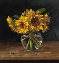 """""""Sunflowers"""" by Sarah Lamb   20 x 19 in   Oil on canvas"""