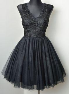 Sukienkowo.pl - Koronkowo tiulowa sukienka BABY czarna