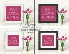 10x10 Square Ornate White Black Matted & Unmatted Frame on Table, Tulips , 4 Print Display Mockups, PNG PSD PSE, Custom colors, 25x25cm