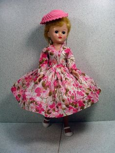 Beautiful Vogue Jill Doll in Hard To Find Floral Dress and Hat, 1958! from fourtyfiftysixty on Ruby Lane