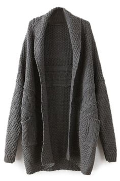 ROMWE | ROMWE Twisted Buttonless Dark-grey Cardigan, The Latest Street Fashion