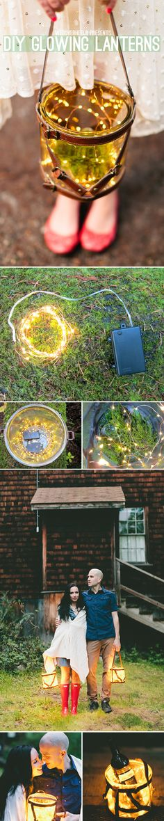 Fab engagement shoot prop! DIY Glowing Lanterns on http://WedOverHeels.com Create a fairytale look with these easy to make lanterns; reminiscent of a jar of fireflies!