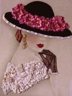 Cable Chain Stitch in Hand Embroidery Tutorial (Step by Step & Video) Silk Ribbon Embroidery, Embroidery Stitches, Embroidery Patterns, Hand Embroidery, Girls With Flowers, Fancy Hats, Ribbon Art, Victorian Women, Vintage Pictures
