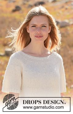 Knitted jumper with short sleeves and round yoke in DROPS Sky. Worked top down. Size: S - XXXL Free Knitting Patterns For Women, Knitting Machine Patterns, Knit Patterns, Crochet Tunic Pattern, Knit Or Crochet, Top Pattern, Crochet Diagram, Free Pattern, Drops Design