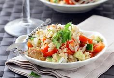 Unique twist to classic salad. Vibrant summer flavors make your mouth water any night of the week. Orzo Salad, Rice Salad, Soup And Salad, Potato Salad, Rice Recipes, Great Recipes, Cooking Recipes, Easy Recipes, Italian Rice