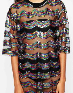 Image 3 - Story Of Lola Festival Big Tee Sequin Dress In Sheer Fabric