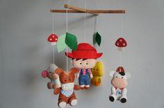 Mobile animaux de la ferme mouton, âne, canard, vache et un cow-boy