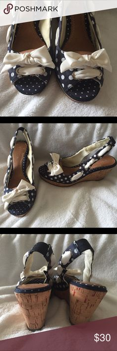 SPERRY Polka Dot cork wedge boat shoe 6.5 M Cork Wedge Cute Navy/White Polka Dots. White ribbon sling back with Cute Bow. Peep Toe. Never worn. Sperry Top-Sider Shoes Wedges