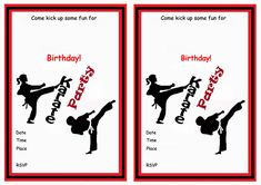 Karate FREE Printable Birthday Party Invitations