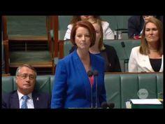 Julia Gillard's misogyny speech [Text of the entire speech: http://parlinfo.aph.gov.au/parlInfo/search/display/display.w3p;query=Id%3A%22chamber%2Fhansardr%2F5a0ebb6b-c6c8-4a92-ac13-219423c2048d%2F0039%22 )