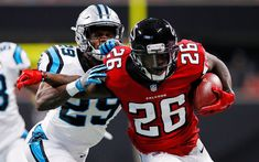 Download wallpapers 4k, Tevin Coleman, NFL, american football, Atlanta Falcons, running back, match
