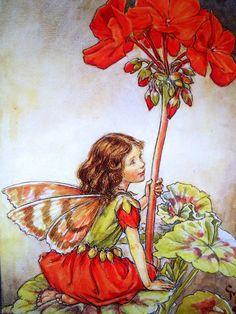 The GERANIUM FAIRY Cicely Mary Barker by sandshoevintageprint