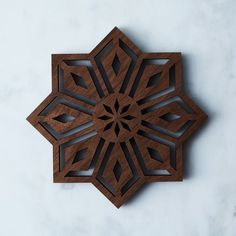 Laser-Cut Walnut Mosaic Trivet on Laser Cut Wood, Laser Cutting, Wood Ornaments, Shape And Form, Christmas Wood, Food 52, Home Decor Kitchen, Walnut Wood, Mosaics