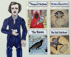 Edgar Allan Poe Articulated Paper Doll with 4 Mini Scenes - The Raven, Tell-Tale Heart, Cask of Amontillado, Masque of the Red Death