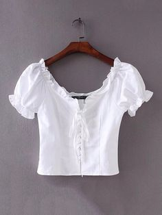 Middle East Pure Color White Bandage V-neck Short Shirts look not only special, but also they always show ladies' glamour perfectly and bring surprise. Crop Top Outfits, Cute Casual Outfits, Myanmar Dress Design, Aesthetic Shirts, Sleeves Designs For Dresses, Short Shirts, Cute Blouses, Ethnic Fashion, Types Of Fashion Styles