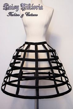 This cage hoop skirt is made of flexible heavy duty steel boning, completely encased in twill tape. Perfect either on its own or holding the weight of