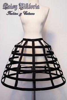 Custom Sized Short Birdcage Cage Hoop Skirt - Black or White - 6 Bones
