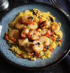 Shrimp and Vegetable Saute over Spaghetti Squash. Healthy Dinner or Lunch for 2