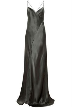 Strappy Wrap Gown Hunter Silk   Oxygen Boutique