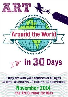 """Come learn about art from around the world in my series """"Art Around the World in 30 Days."""" Each post includes art discussion questions and art lesson ideas!"""