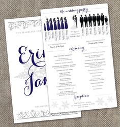 Winter Wedding Program with Bridal Party by EventswithGrace