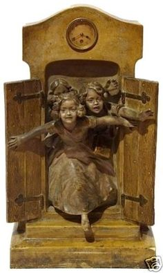 """Friedrich GOLDSCHEIDER (1845-1897) Austrian  Large Art Nouveau, Terracotta Figural Sculpture, Bronze patina, with clock on top. ALBERT DOMINQUE ROZE or ROSE (1861-1952)   Original circa 1890 Approx. 20.5"""" x 11.5"""" x 7"""" Clock statue of three young girls running out of what appears to be old barn wood doors by Friedrich Goldscheider, signed Rose. It is terracotta with a bronze patina, ca. 1890's. Goldscheider, Old Barn Wood, Bronze Patina, Unusual Art, Antique Clocks, Large Art, Wood Doors, Or Rose, Metal Art"""