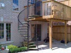 Spiral Stair Off Back Deck. Takes Up Less Room Than A Typical Deck Stair.