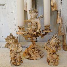 Distressed cherubs and handmade crowns candelabra figurines shabby chic white rusty set of angel home decor anita spero